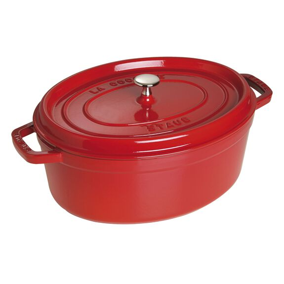 Cocotte 27 cm, oval, Kirsch-Rot, Gusseisen,,large