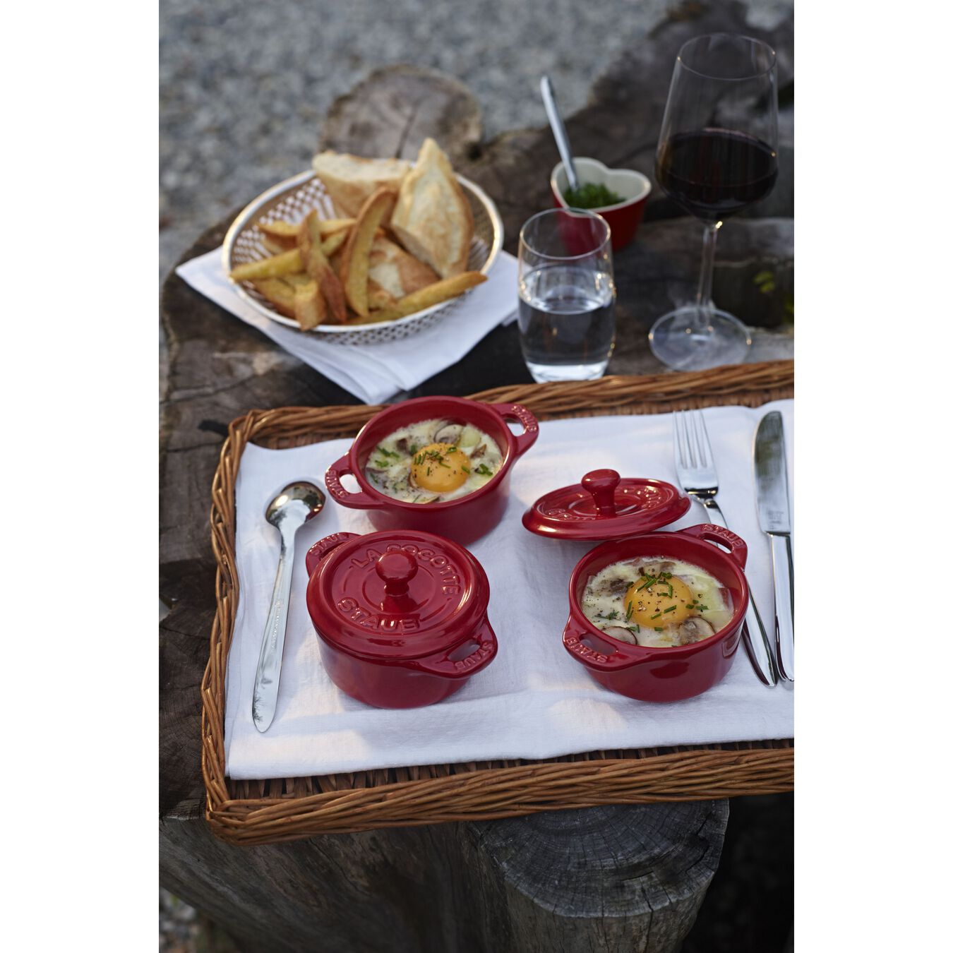 3-pc, Cocotte set, cherry,,large 3