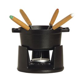 Staub Cast Iron, 0.25-qt Mini Chocolate Fondue Set - Matte Black