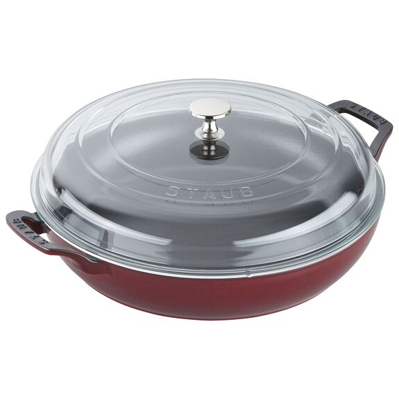 12-inch Enamel Braiser with Glass Lid,,large