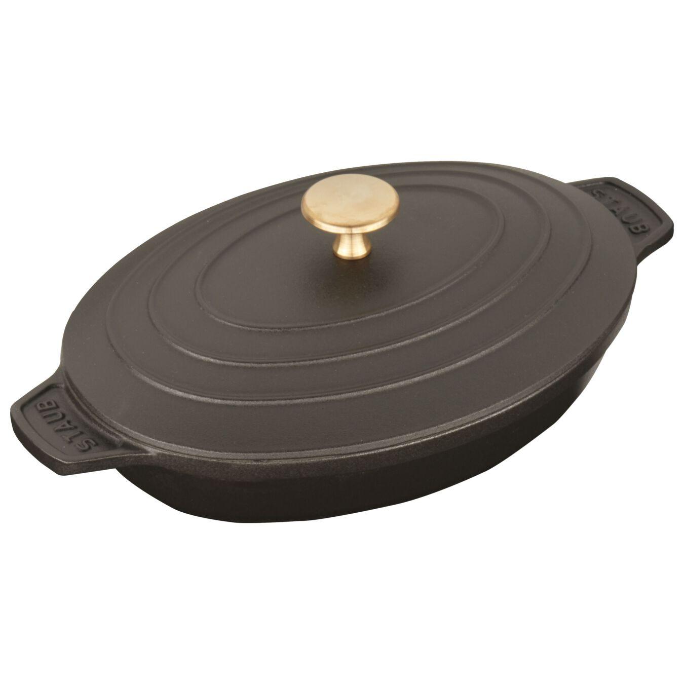 Ovenschotel met deksel 23 cm, Ovaal, Zwart,,large 3