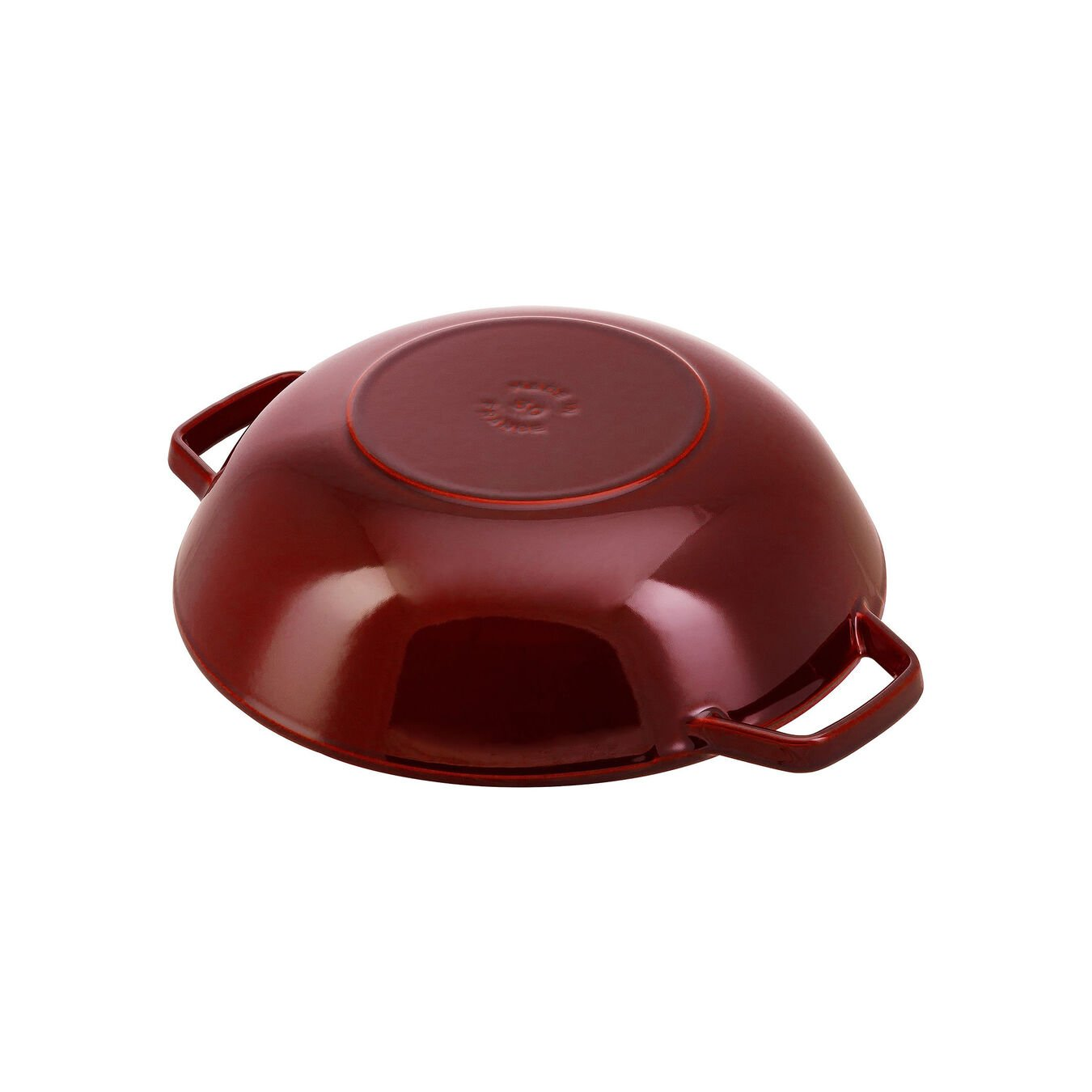 30 cm Cast iron Wok with glass lid, Grenadine-Red,,large 3