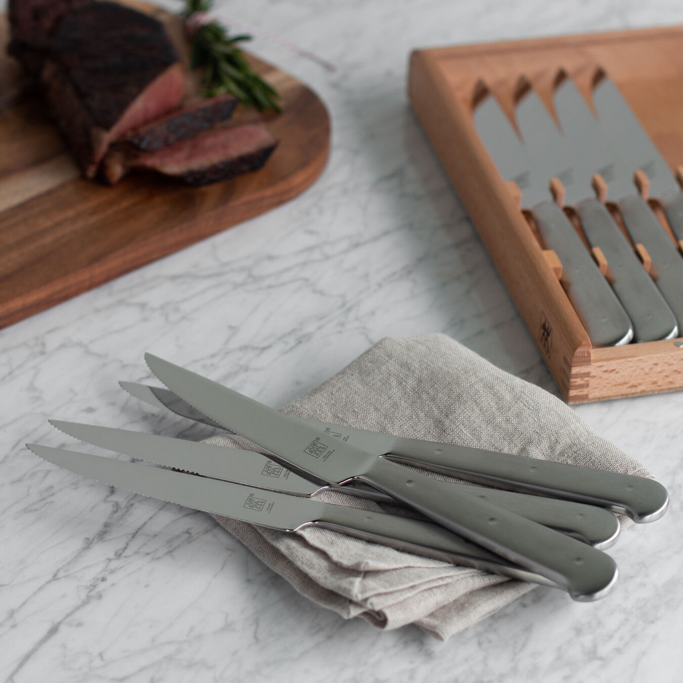 8-pc, 18/10 Stainless Steel Steak Knife Set With Wood Presentation Box,,large 5