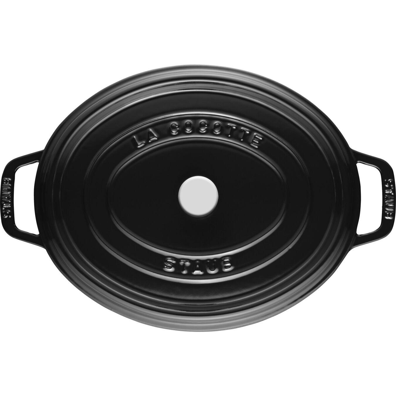 Cocotte 31 cm, Oval, Blank sort, Støbejern,,large 4