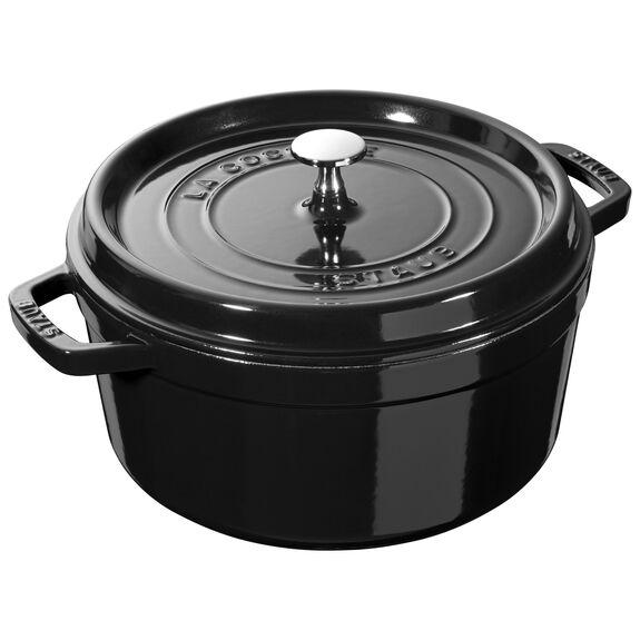 5.5-qt round Cocotte, Shiny black,,large