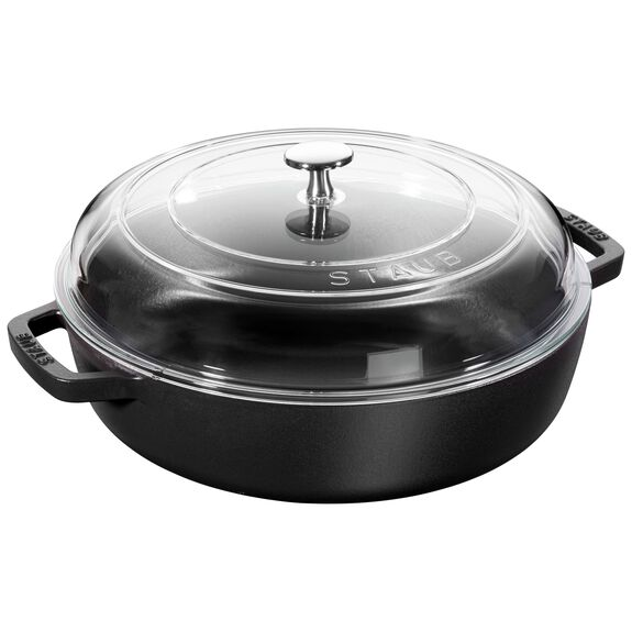 11-inch Enamel Saute pan with glass lid,,large