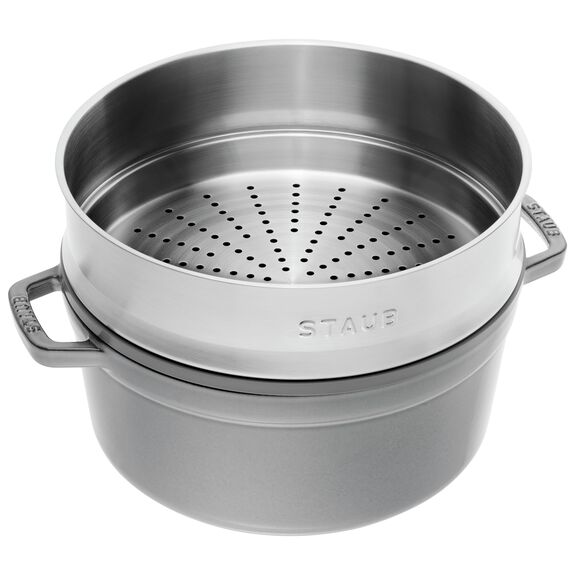 4-qt round Cocotte with steamer, Graphite Grey,,large 2
