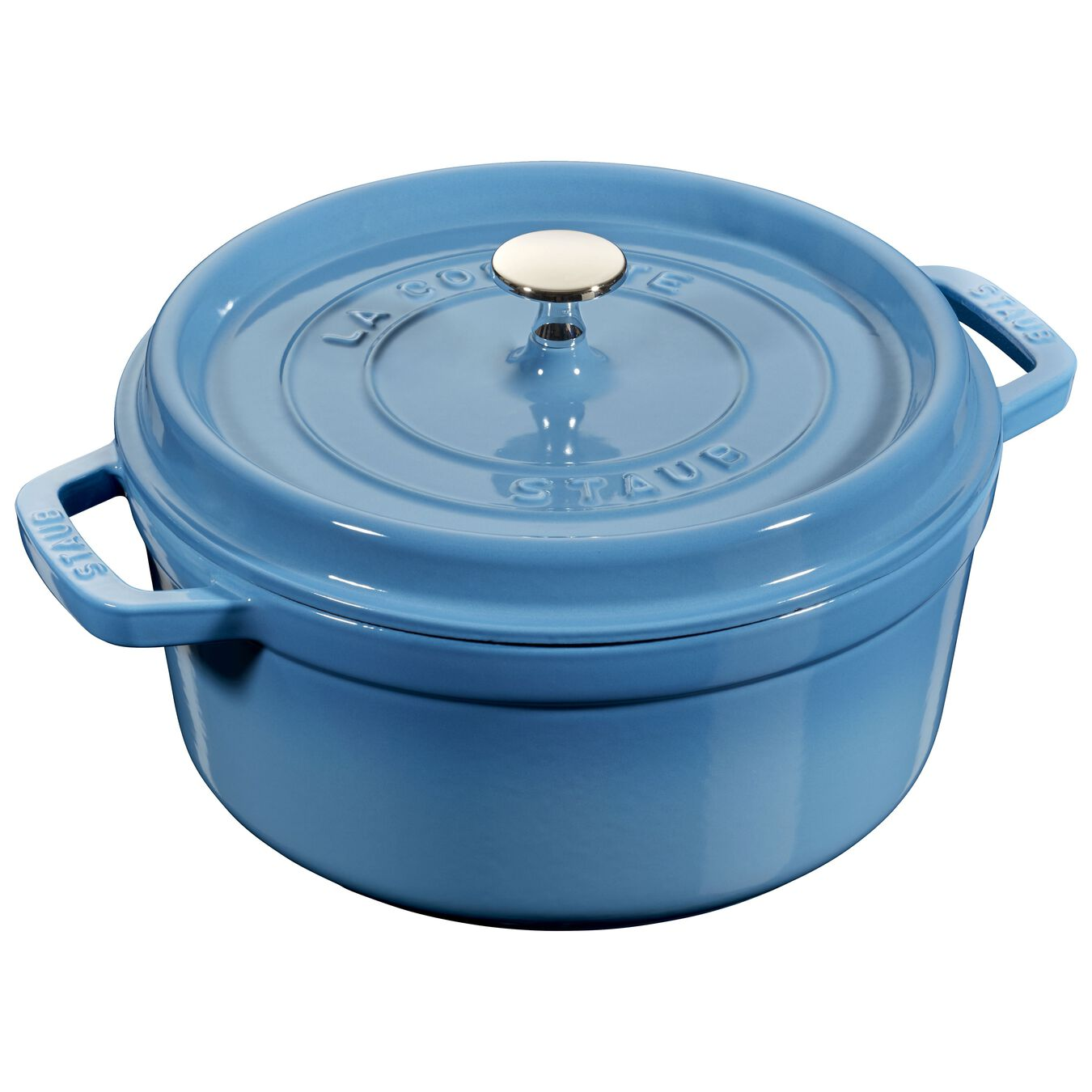 3.75 l Cast iron round Cocotte, Ice-Blue,,large 1