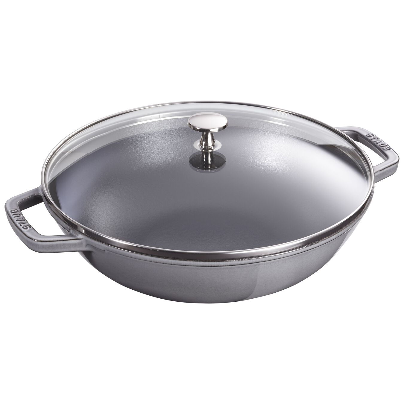 30 cm / 12 inch Wok with glass lid, graphite-grey,,large 1
