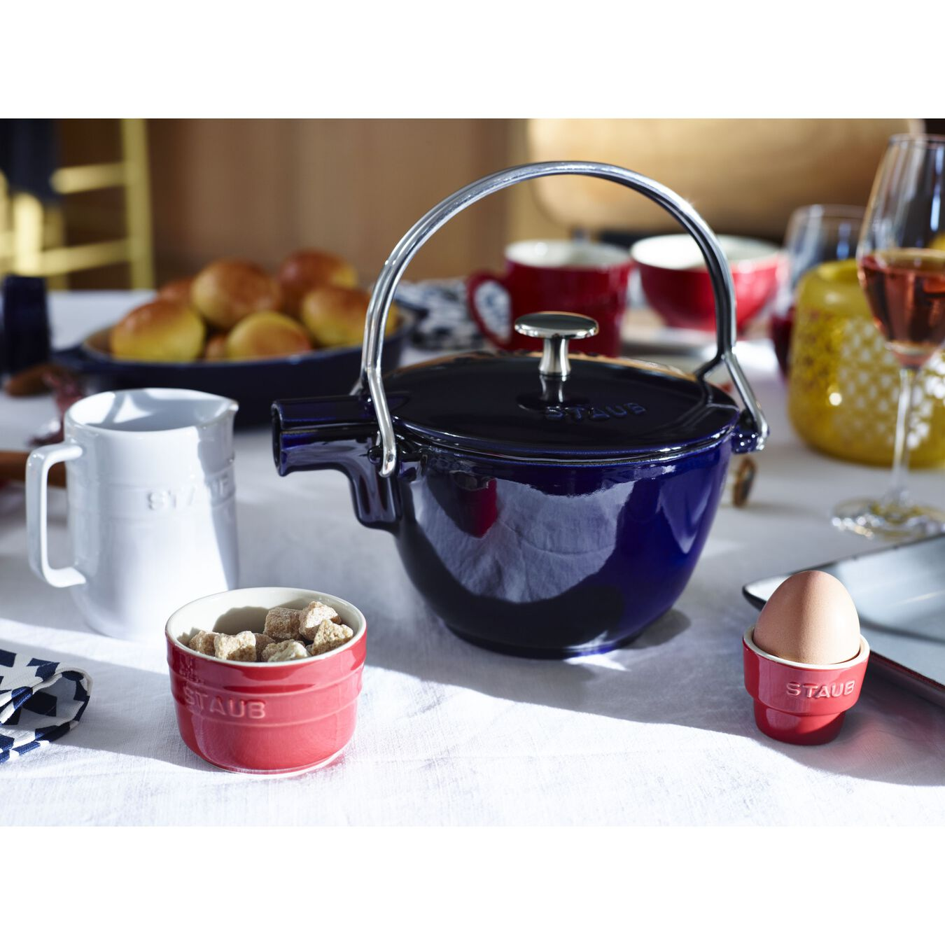 1.25 qt, round, Tea pot, dark blue,,large 5