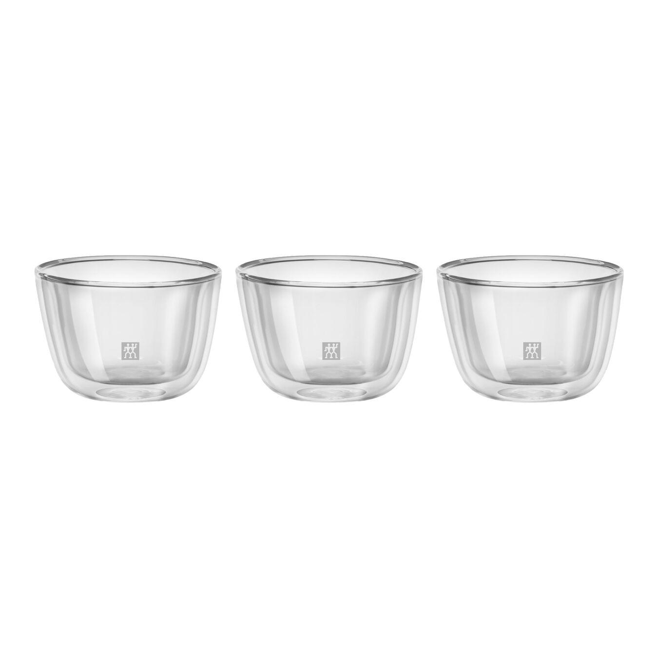 3 Piece Borosilicate glass Appetiser set, transparent,,large 1
