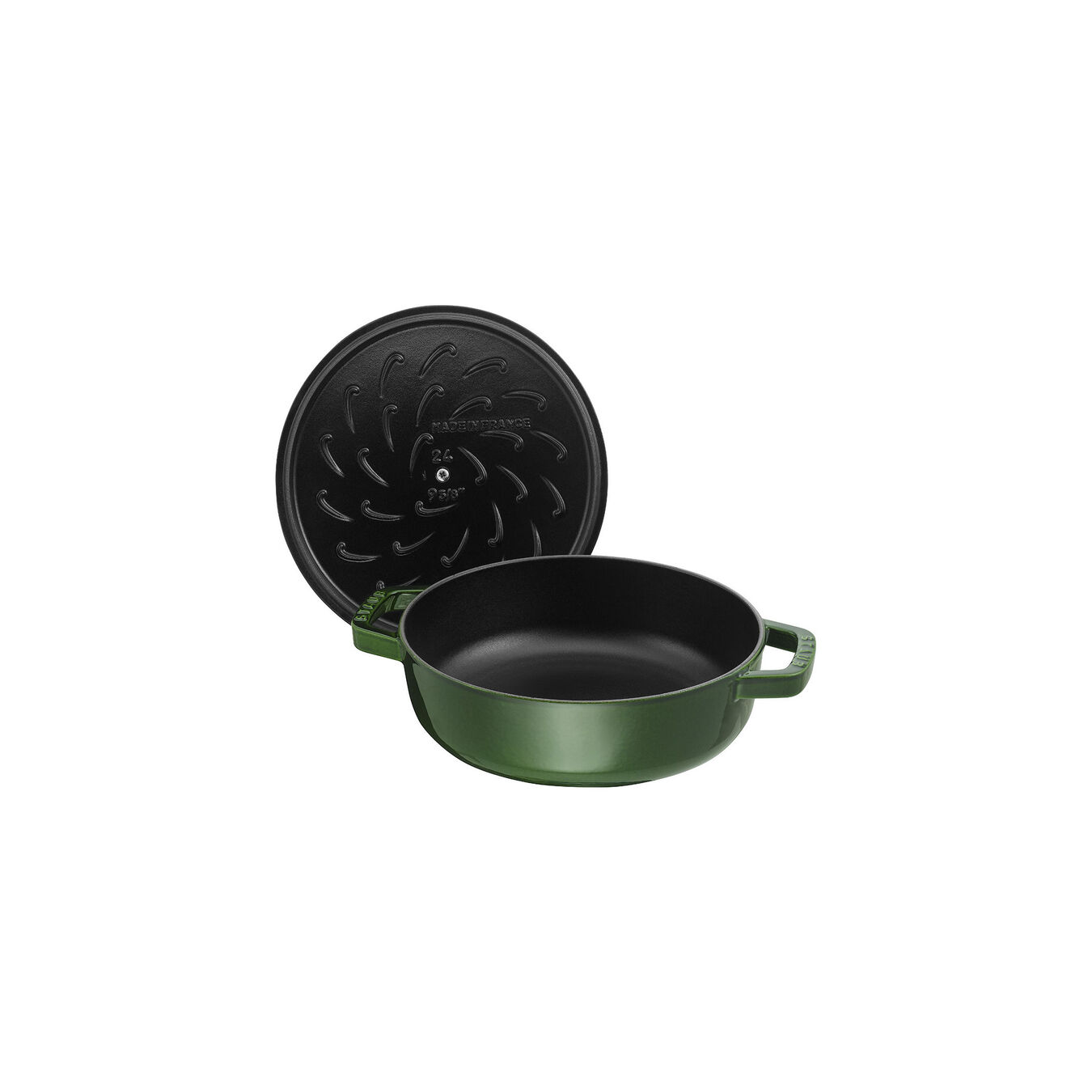 3.75 l Cast iron round Saute pan Chistera, Basil-Green,,large 2