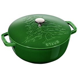 Staub Cast Iron, 3.8-qt round French oven Pine, Basil - Visual Imperfections