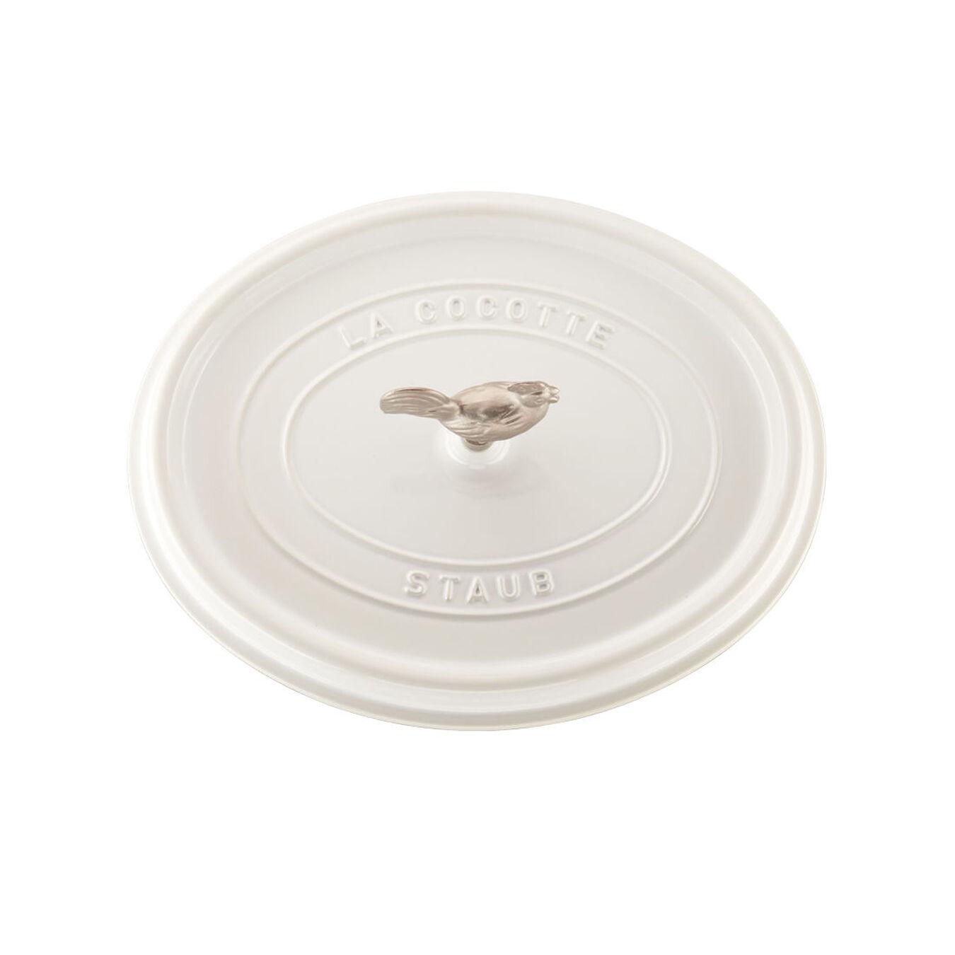 5.5 qt, oval, Coq au Vin Cocotte, white,,large 3