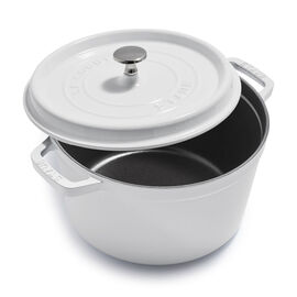 Staub Cast Iron - Tall Cocottes, 5 qt, round, Tall Cocotte, white