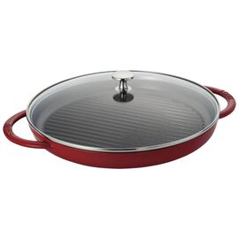 Staub Grill Pans, 30 cm / 12 inch cast iron round Grill pan with glass lid, cherry