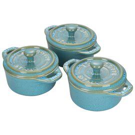 Staub Ceramics, 3-pc round Cocotte set, Rustic Turquoise