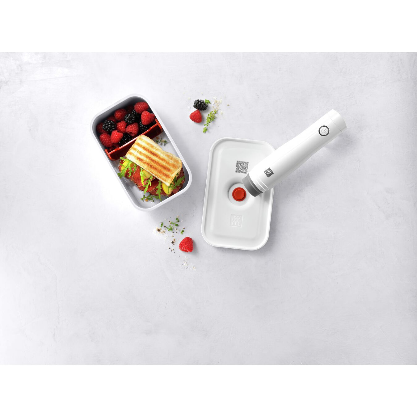 Vakuum Lunchbox, M, Kunststoff, Weiß-Rot,,large 5