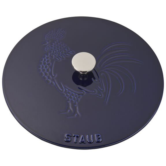 3.75-qt round French oven rooster, Dark Blue - Visual Imperfections,,large 5