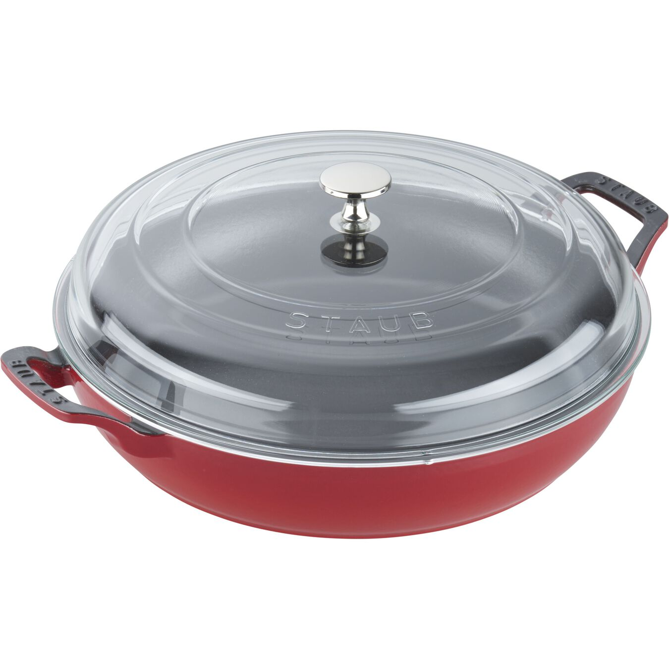 12-inch, Braiser with Glass Lid, cherry,,large 3