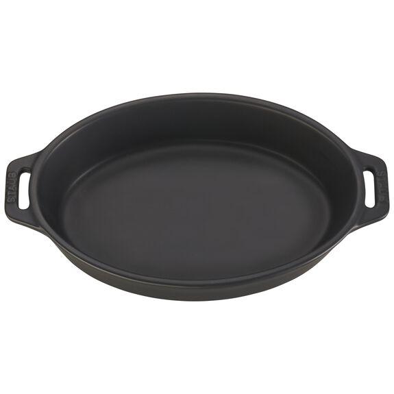 "9"" Oval Baking Dish, Black Matte, , large 2"