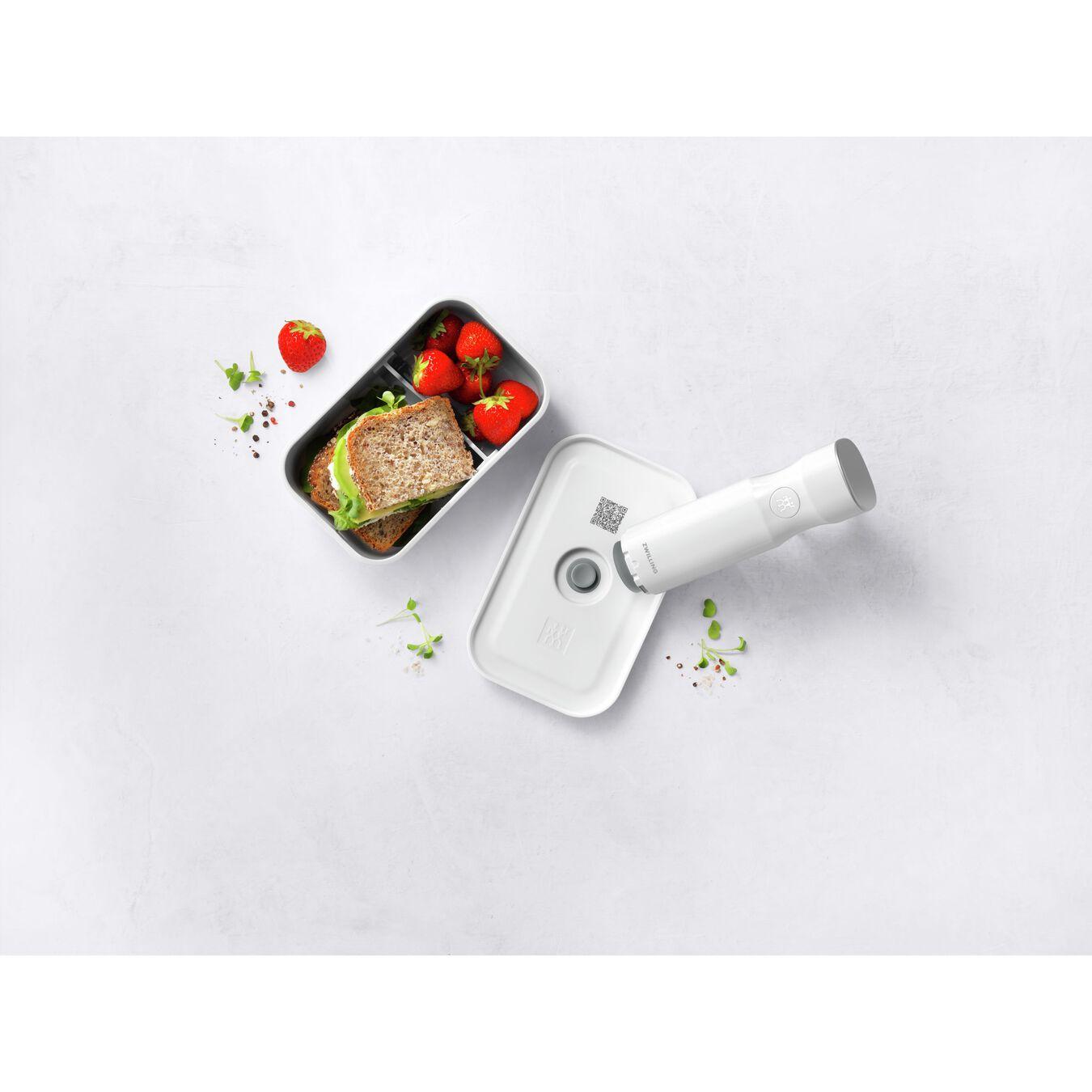 medium Vacuum lunch box, plastic, white,,large 6