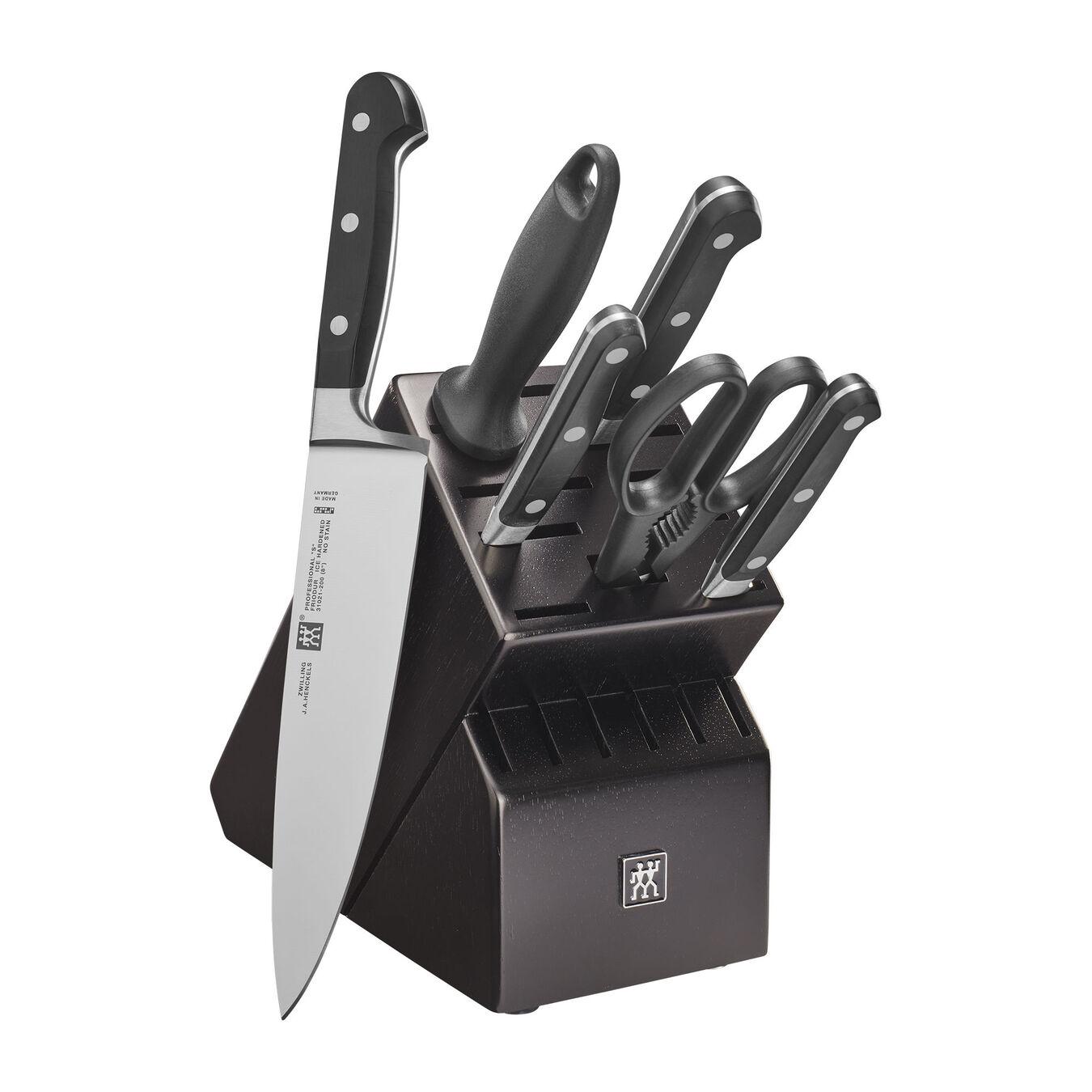 7-pc, Knife block set, black matte,,large 1
