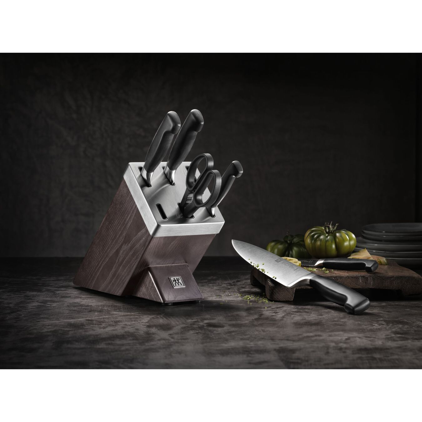 Set di coltelli con ceppo con sistema autoaffilante - 7-pz., bianco,,large 3