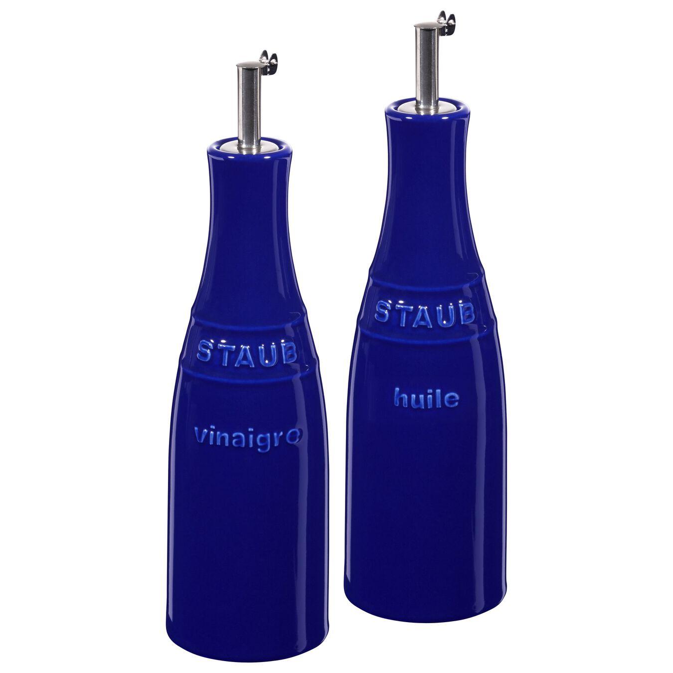 250 ml / 2 Piece ceramic Oil and vinegar set, dark-blue,,large 1