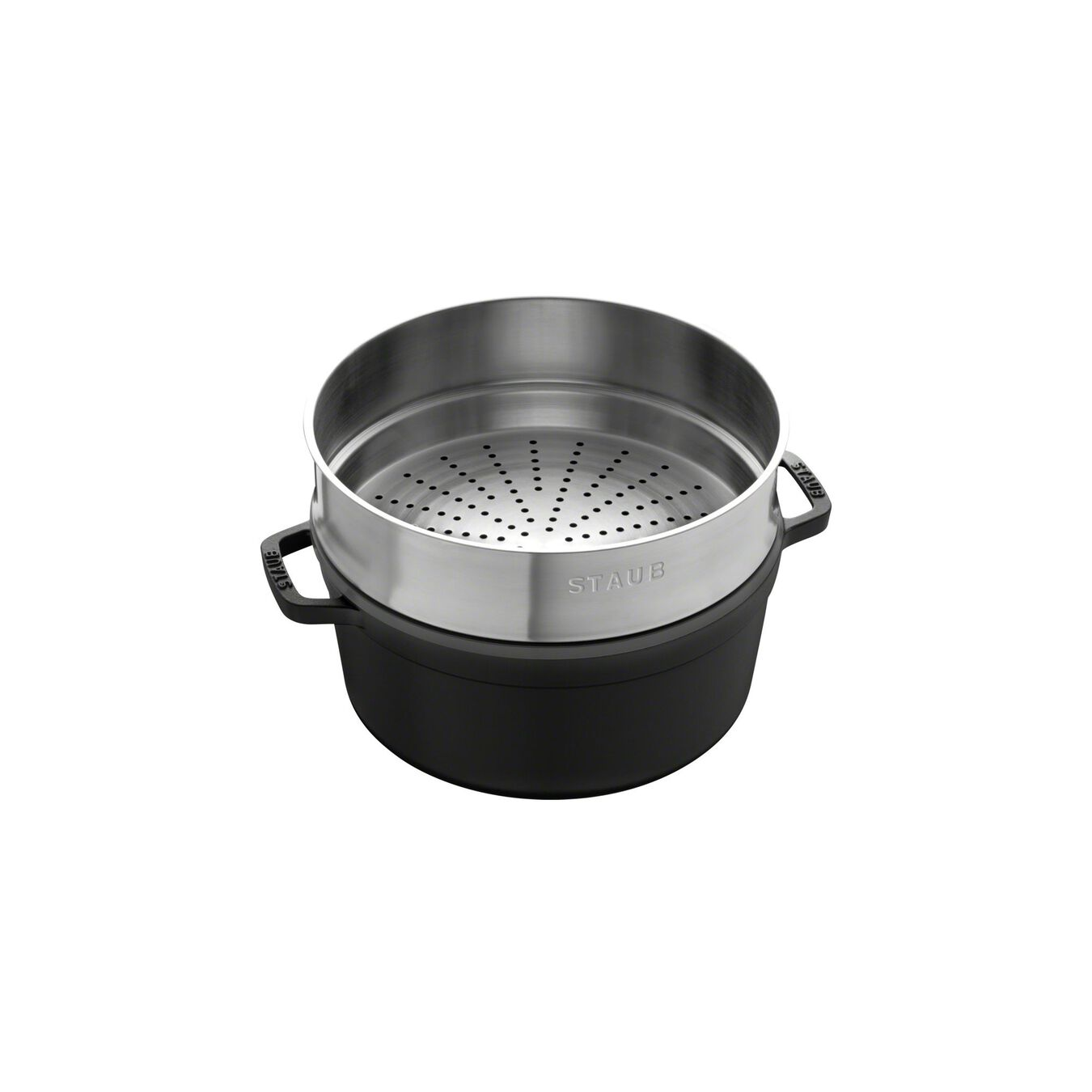 5,25 l Cast iron round Faitout with steamer, Black,,large 2