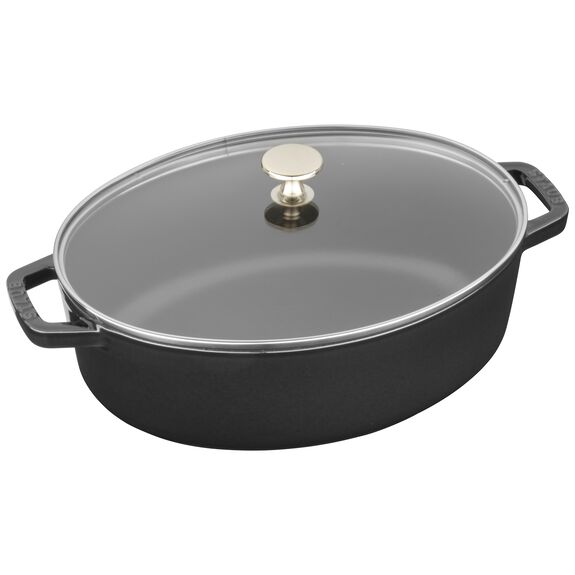 4.25-qt Shallow Wide Oval Cocotte with Glass Lid - Matte Black,,large 2