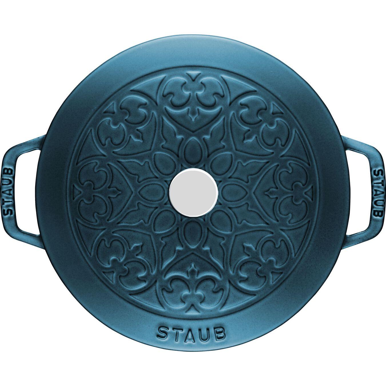 Pot set, lily decal, 2 Piece   round   cast iron   la-mer,,large 3