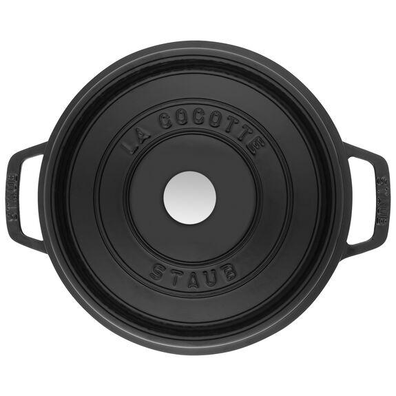 5-qt round Cocotte, Shiny black,,large 5