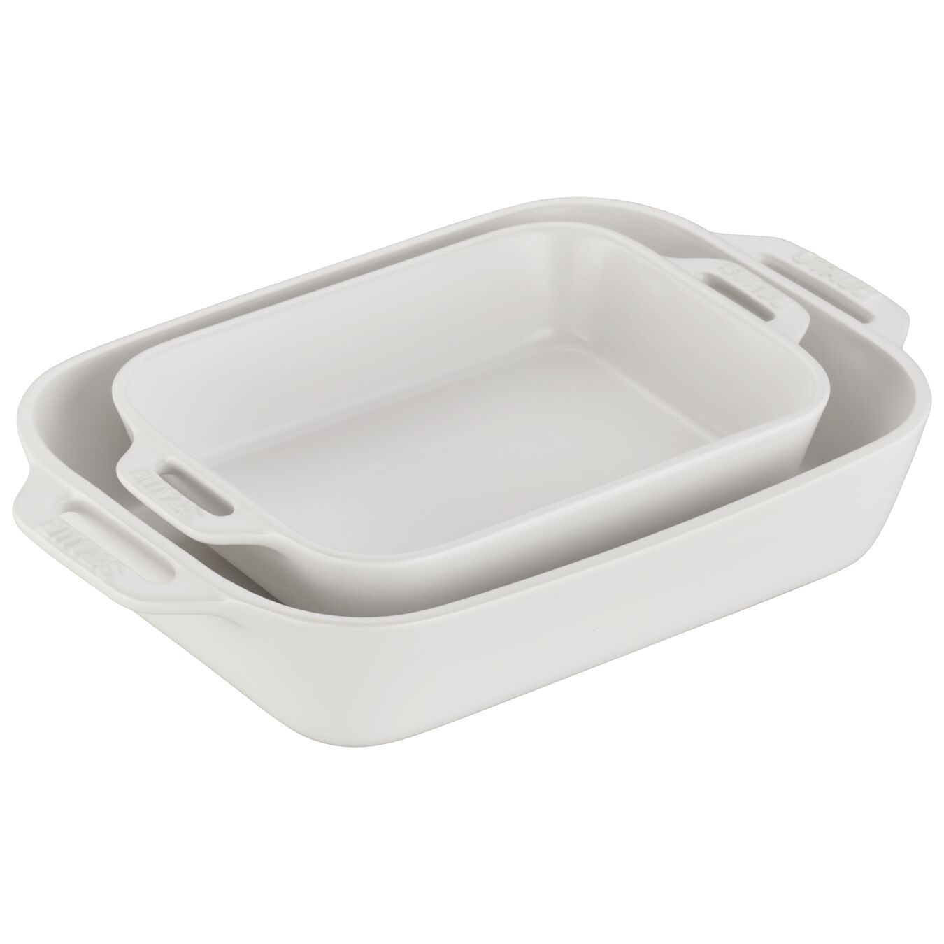2 Piece rectangular Bakeware set, matte-white,,large 1