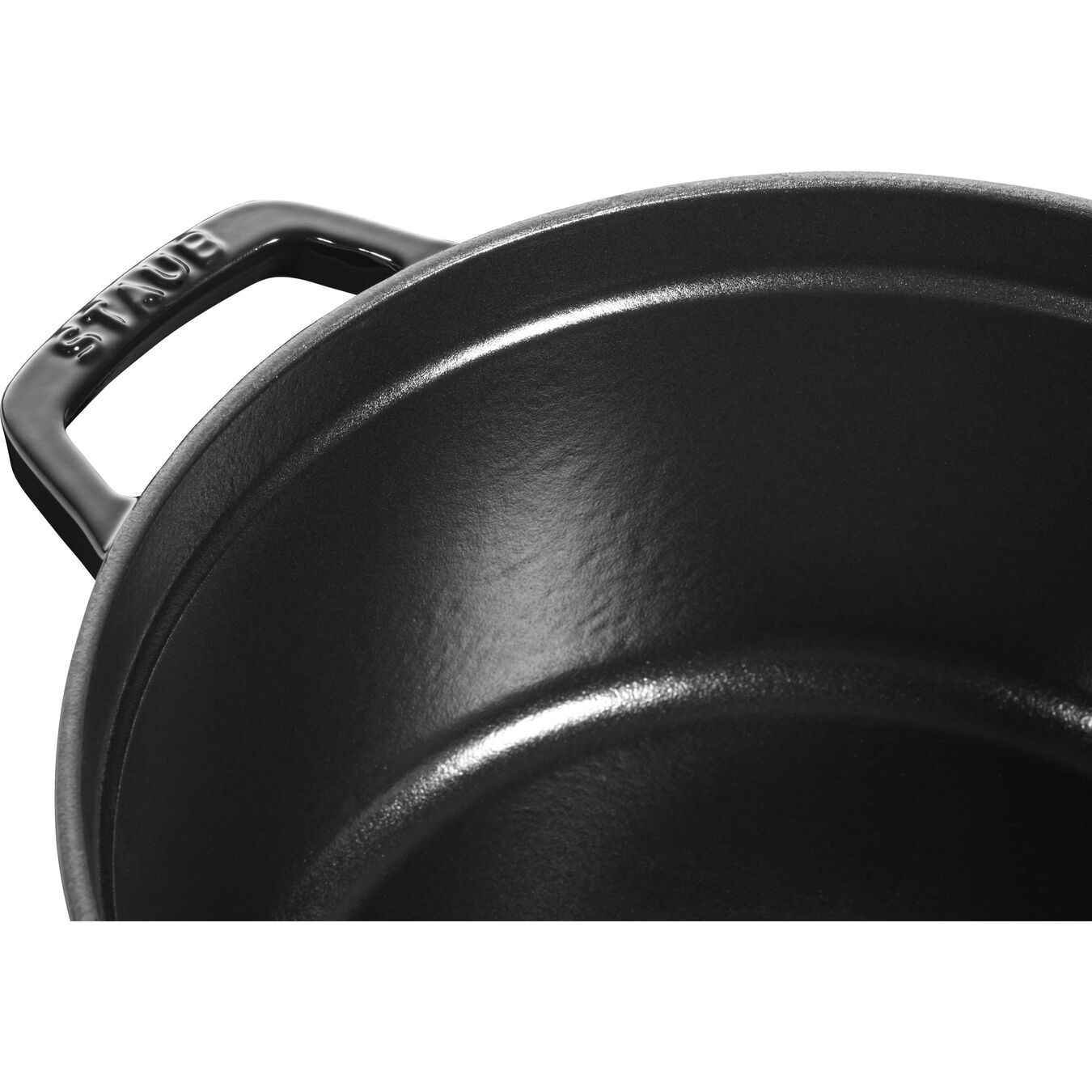 4 qt, round, Cocotte, shiny black - Visual Imperfections,,large 2