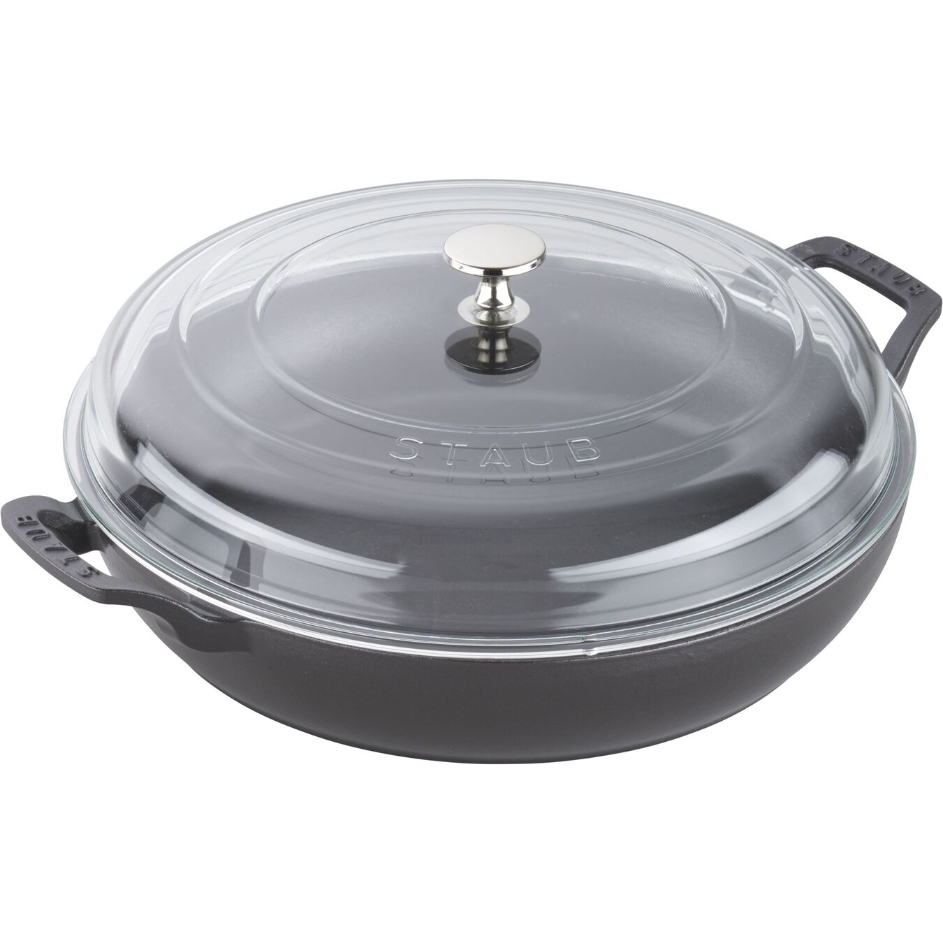 12-inch, Saute pan with glass lid, black matte,,large 2