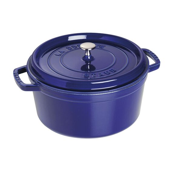 7-qt Round Cocotte - Visual Imperfections  - Dark Blue,,large 2