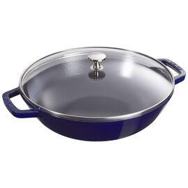 Staub Specialities, Wok con coperchio in vetro rotondo - 30 cm, blu scuro