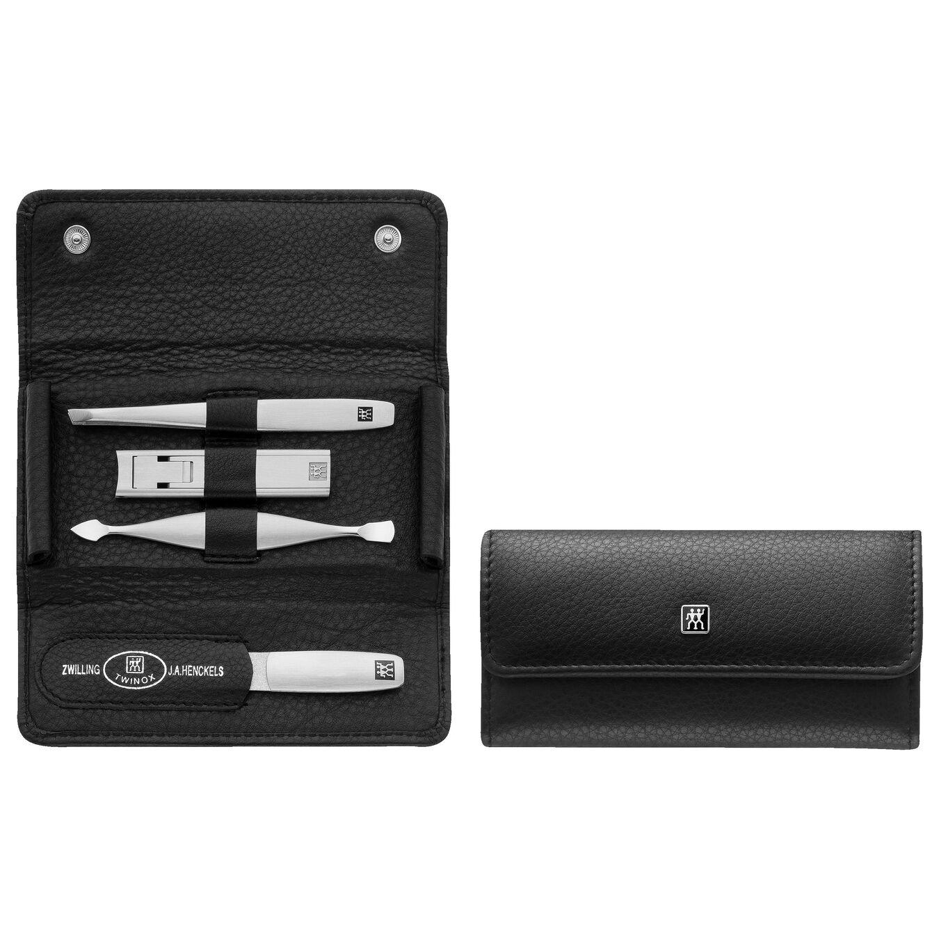 5-pc, Leather Snap fastener case, black matte,,large 1