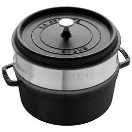 Staub Cast iron, 5.5-qt-/-26-cm round Cocotte with steamer, Black