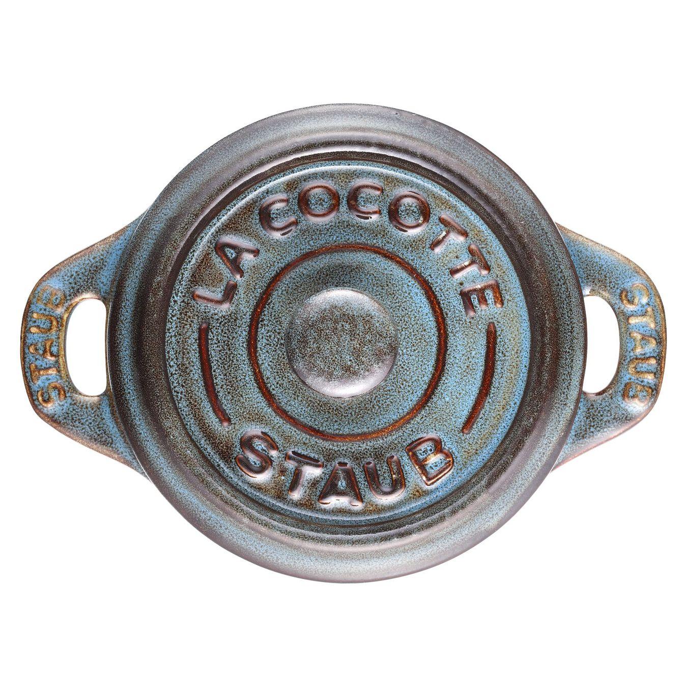 Mini Cocotte 10 cm, Rond(e), Turquoise antique, Céramique,,large 3