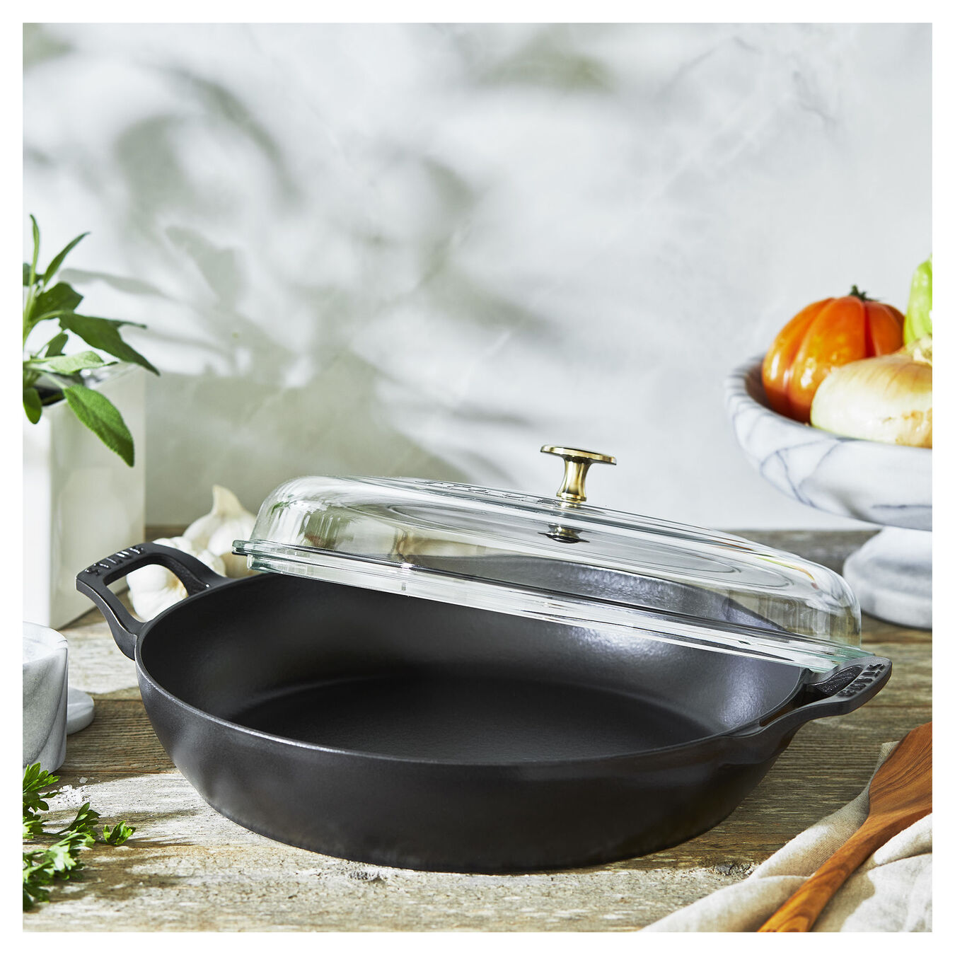 12-inch, Braiser with Glass Lid, black matte,,large 2