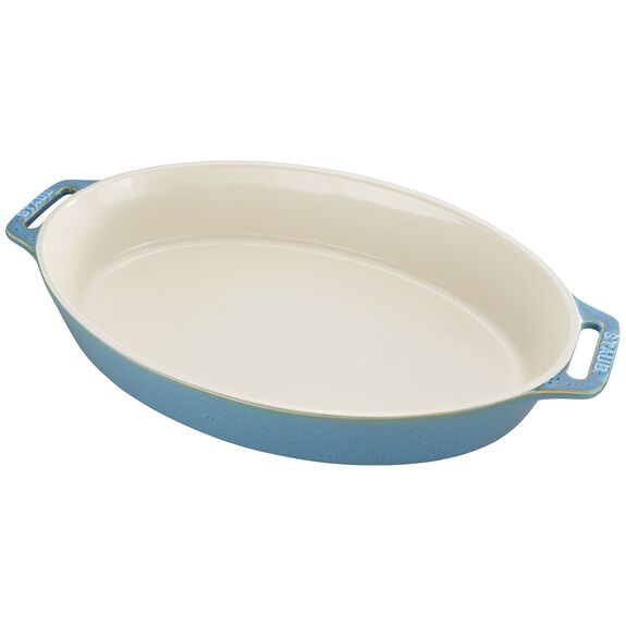 14.5-inch Oval Baking Dish, Rustic Turquoise, , large