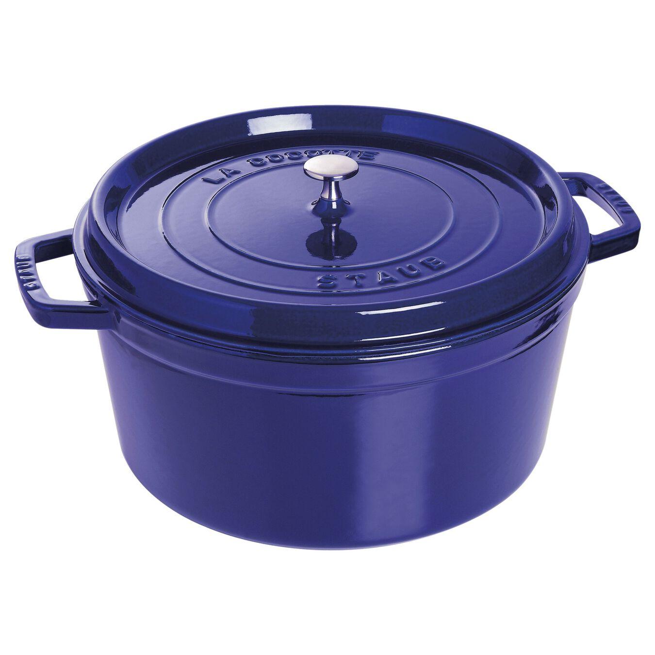 Cocotte 34 cm, Rond(e), Bleu intense, Fonte,,large 1