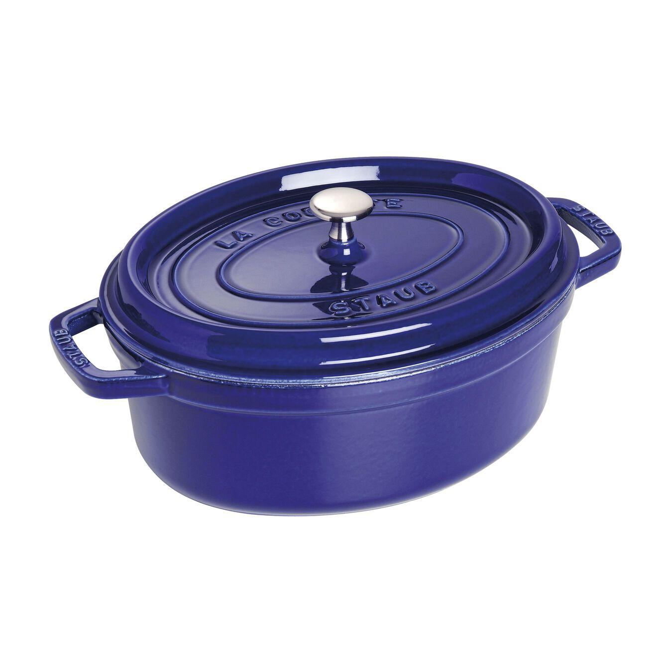 4,25 l Cast iron oval Faitout, Dark-Blue,,large 1