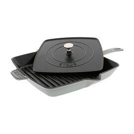 Staub Cast Iron, 12-inch Square Grill Pan & Press Set - Graphite  Grey