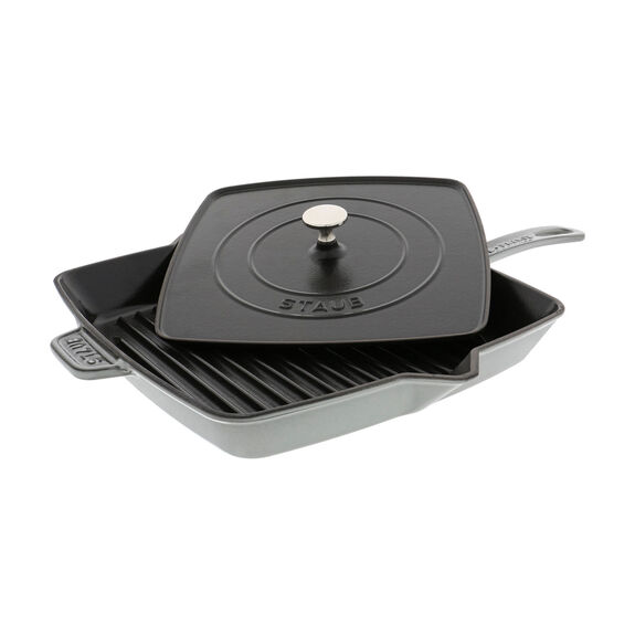 12-inch Square Grill Pan & Press Set - Graphite  Grey,,large