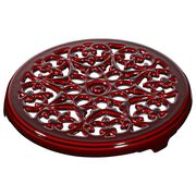 9-inch Round Lilly Trivet - Grenadine,,large