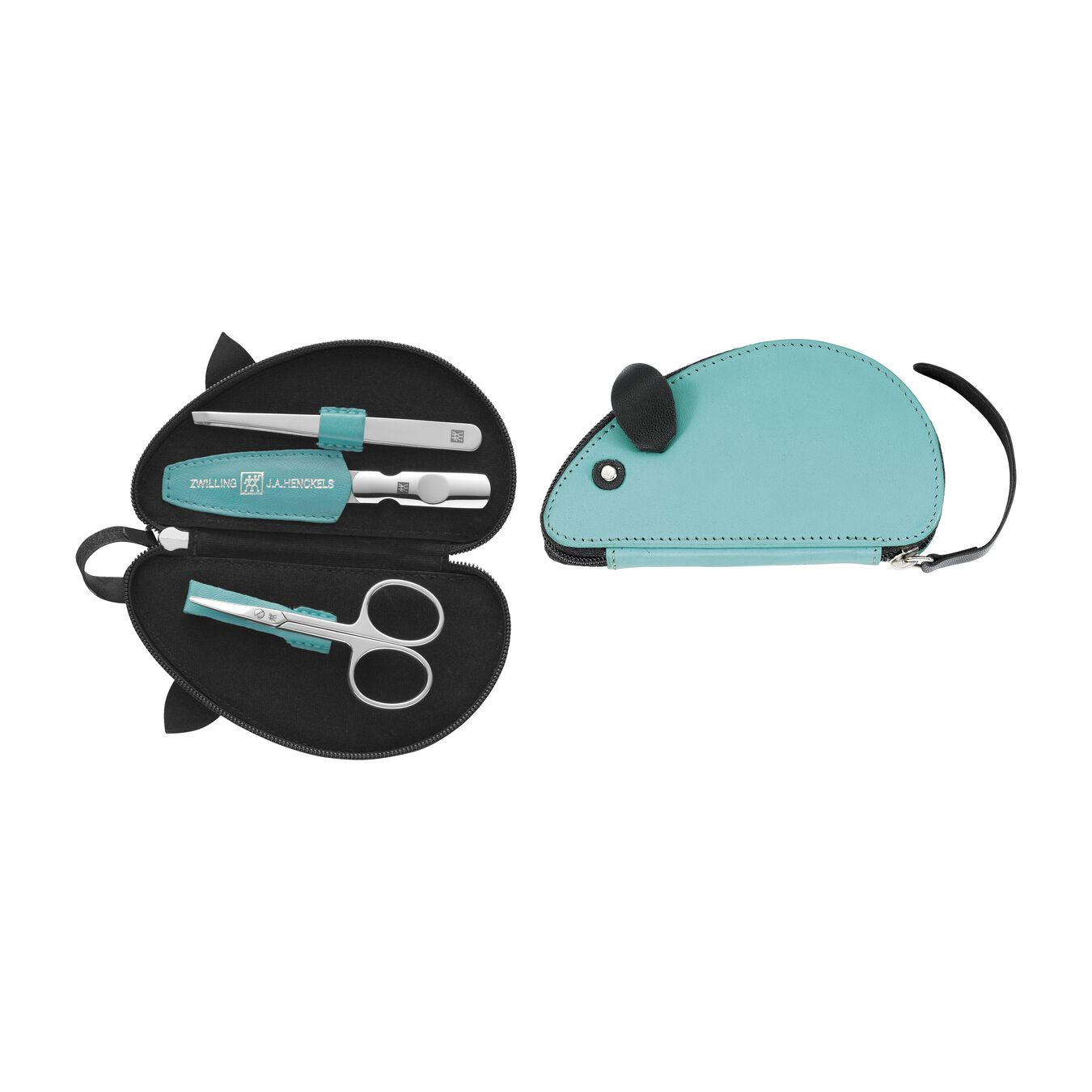 Zip fastener case, 3 Piece | kid leather | turqouise,,large 1