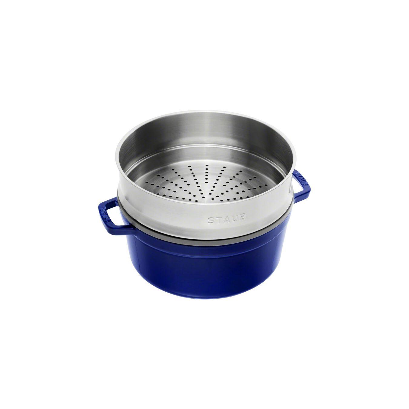 Cocotte con cestello a vapore rotonda - 26 cm, blu scuro,,large 2